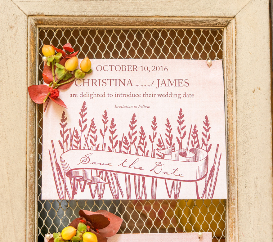 Rustic Country Save The Date Card Autumn Wedding Theme with Wheat Accents | Confetti.co.uk
