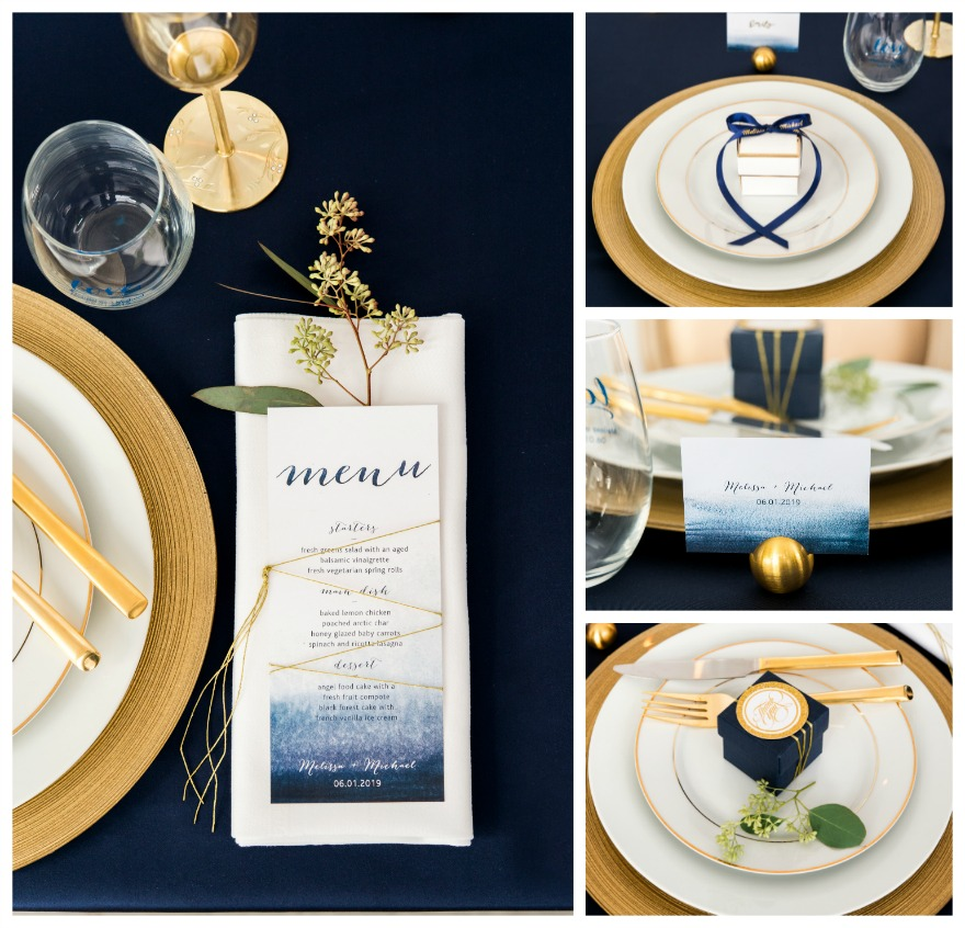 Navy blue and gold wedding table decorations   Confetti.co.uk