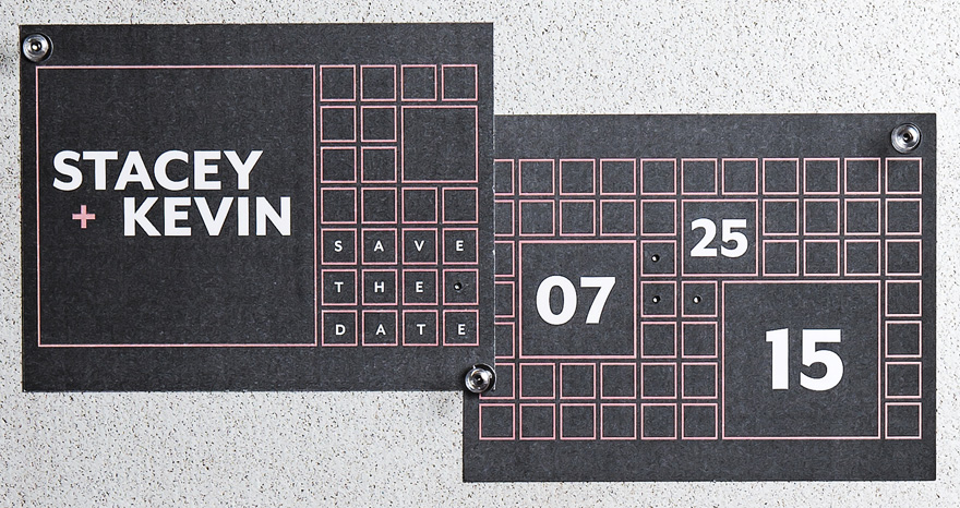 Times Square Save The Date Card Black and Pink Wedding Colour Scheme | Confetti.co.uk