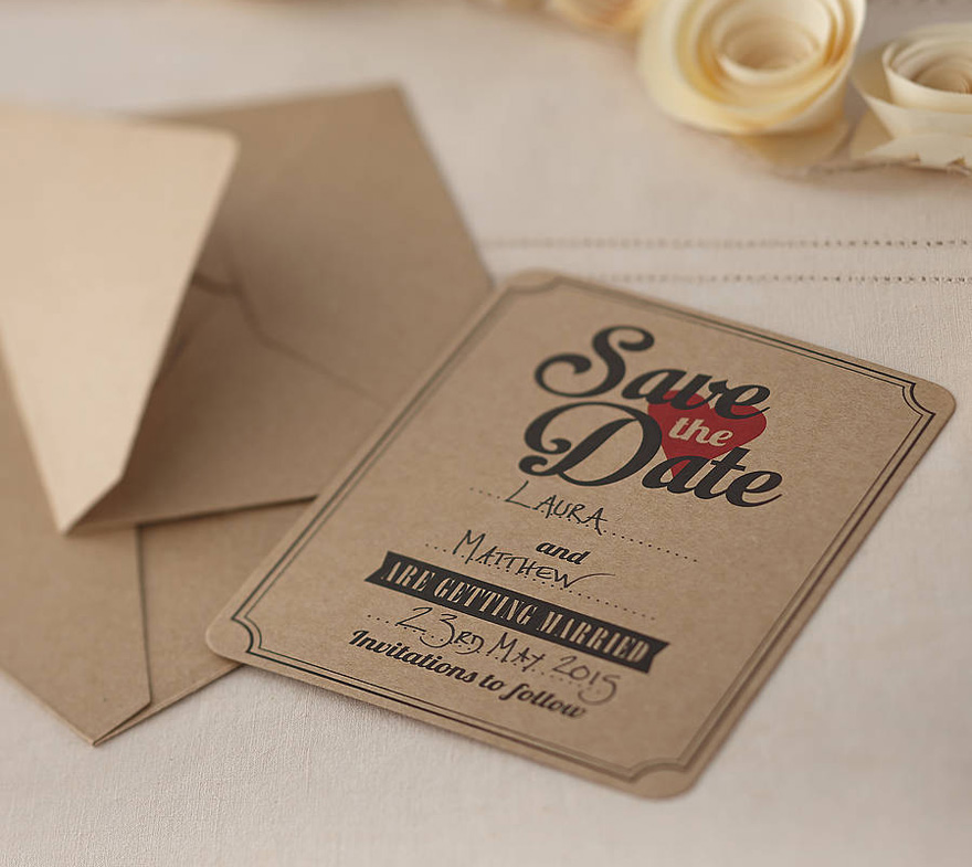 Vintage Affair Kraft Save The Date Cards - Vintage Brown with Red Heart | Confetti.co.uk