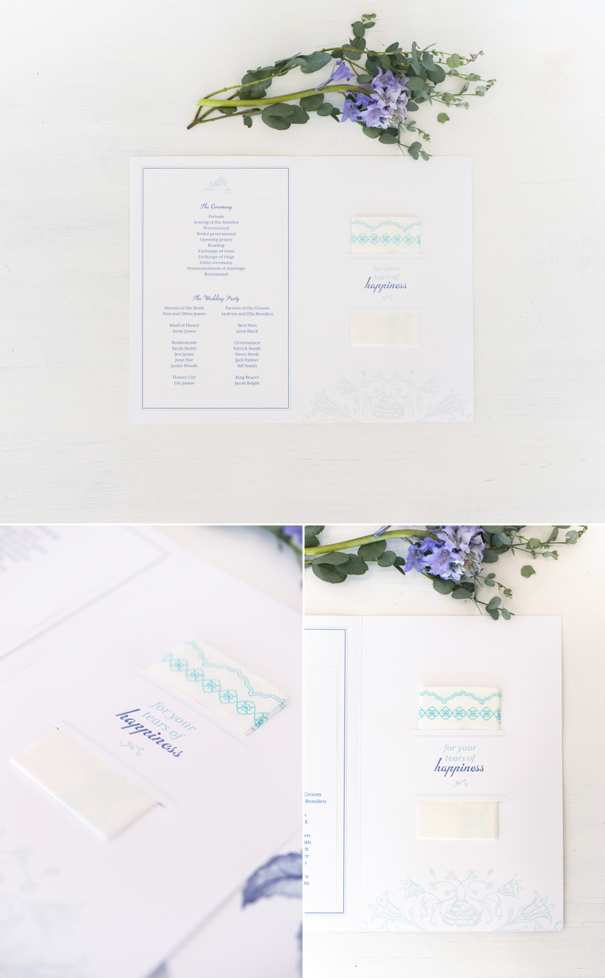 Wedding Ceemony Program with Tissues For Your Tears of Happiness   Confetti.co.uk