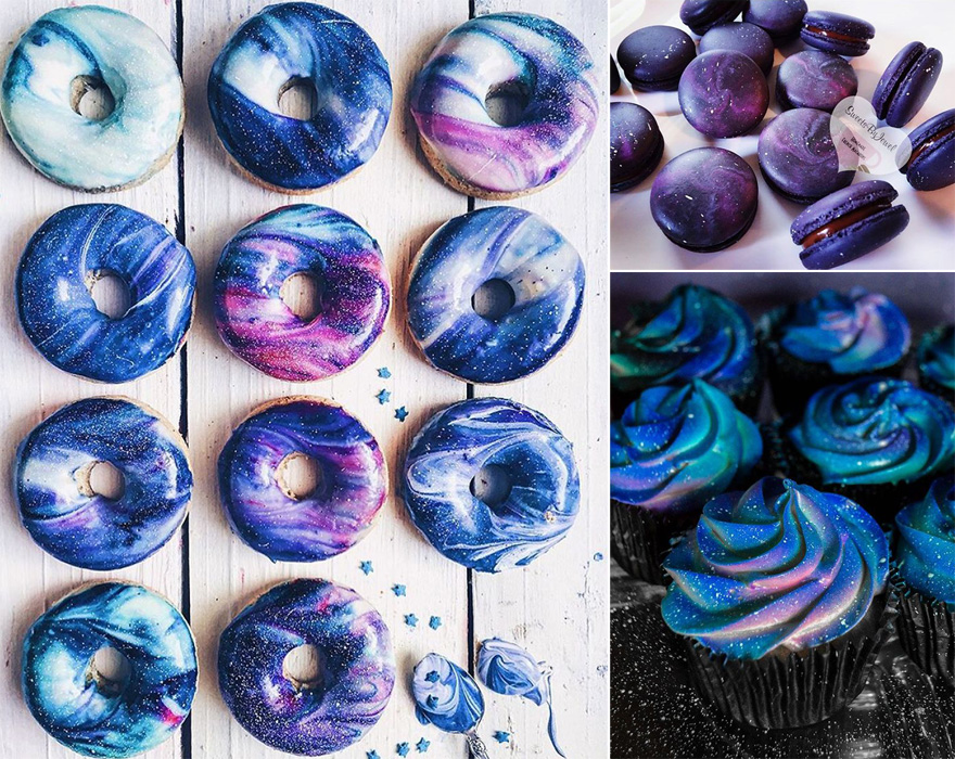 Blue Purple and White Galaxy Donuts Galaxy Cupcakes and Galaxy Macarons for a Star Wars Wedding | Confetti.co.uk