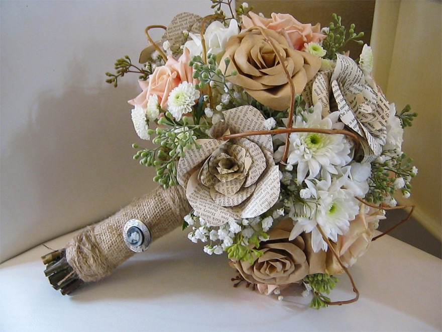 Origami Bouquet with Book Pages and Real Flowers via MFGFlorals | Confetti.co.uk