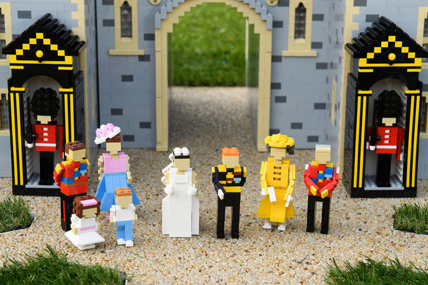 Prince Harry and Meghan Markle's LEGO Royal Wedding Model with LEGO Prince William, LEGO Kate, LEGO Princess Charlotte, LEGO Prince George, LEGO Prince Philip and the Queen Made Out of LEGO as well as LEGO Foot Guards | Confetti.co.uk