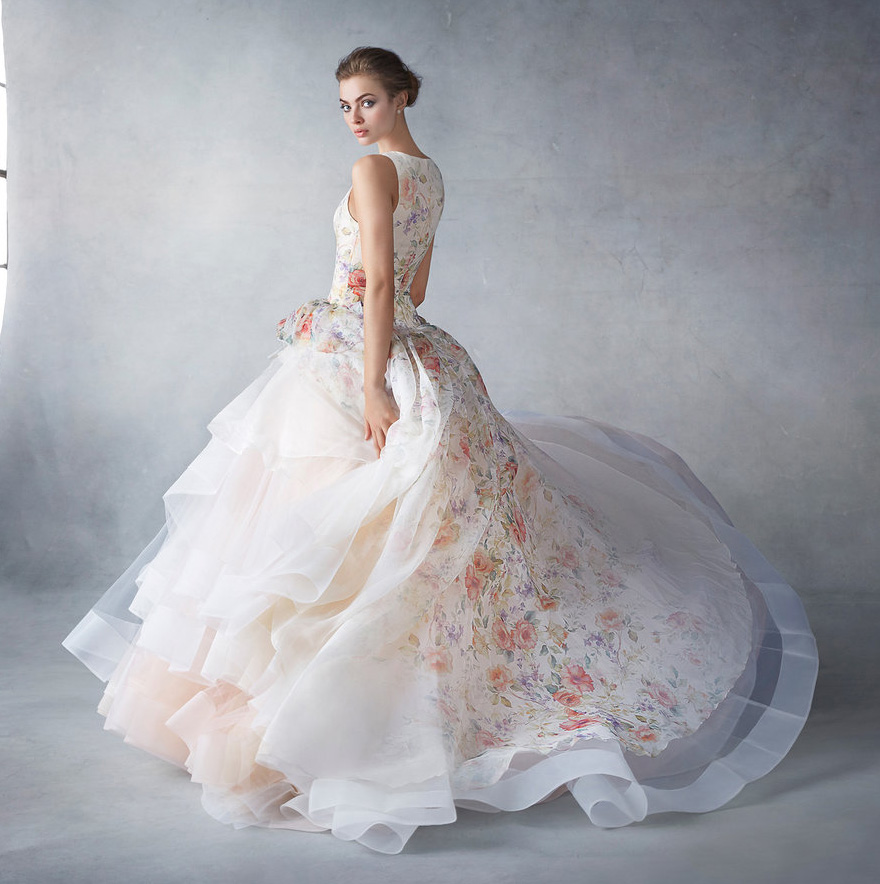 Sherbet Silk Organza Floral Print Bridal Ball Gown - Style 3613 from Lazaro's Spring 2016 Collection | Confetti.co.uk