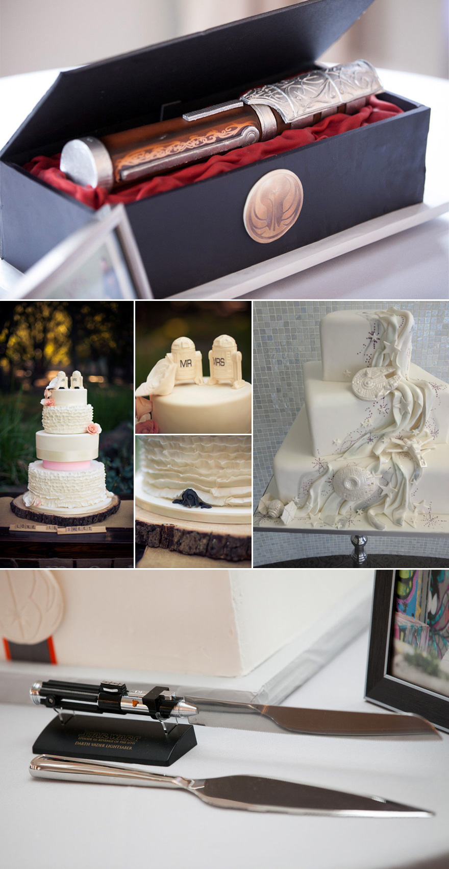 Star Wars Wedding Cake Ideas Lightsaber Wedding Cake R2D2 Cake Topper with Roses and Peeking Darth Vader Millennium Falcon Wedding Cake with Death Star Tie Fighters and X Wings and Lightsaber Cake Knife Cake Serving Set | Confetti.co.uk