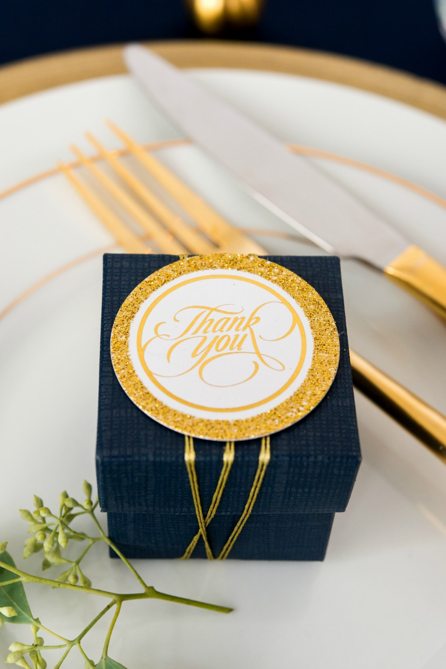 Navy and gold wedding favours   Confetti.co.uk