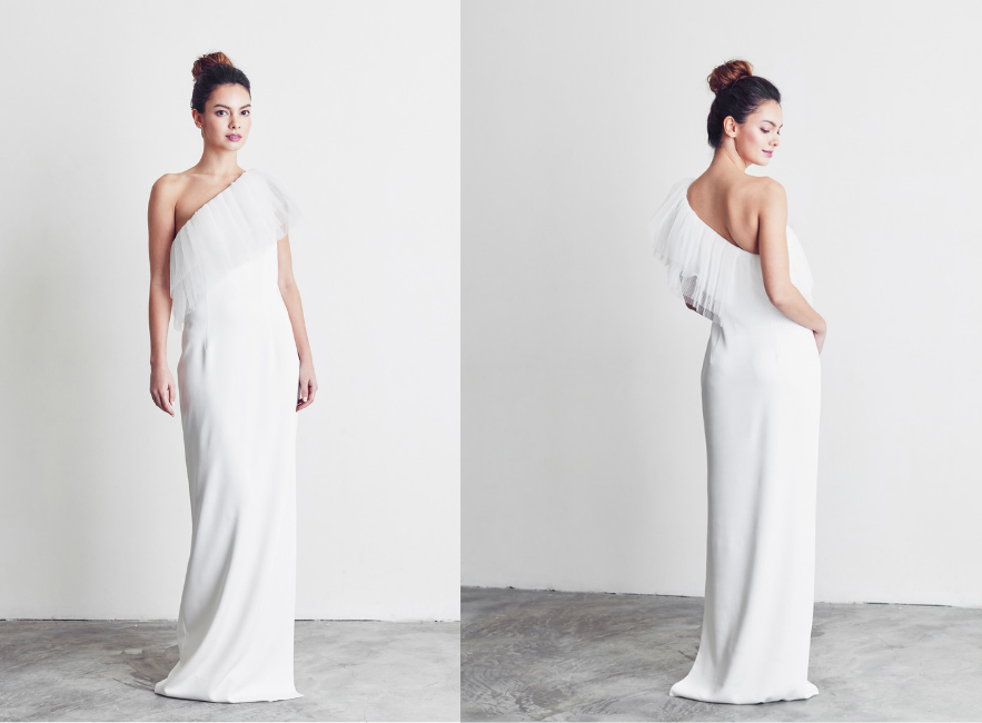 One shoulder alternative bridal gown with ruffles
