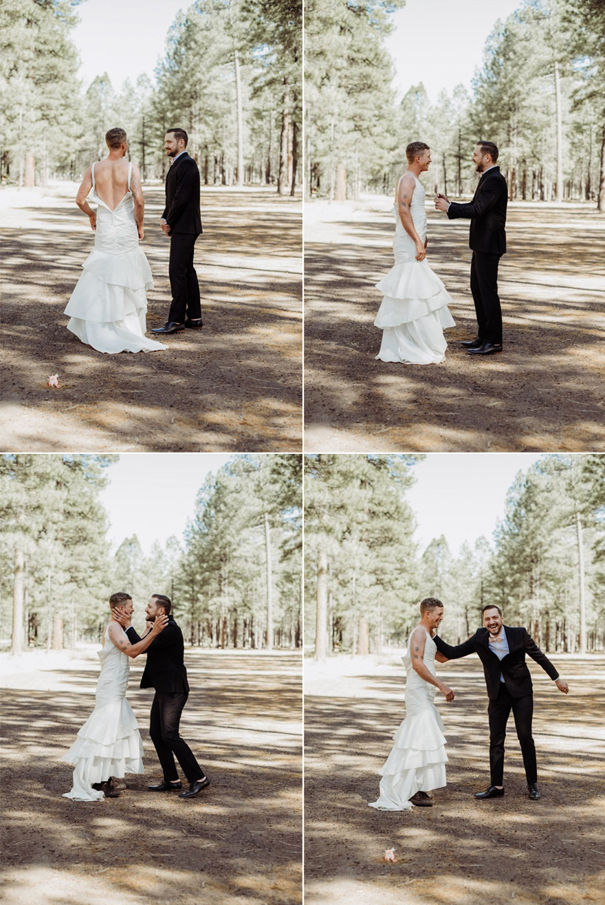 Arizona Bride and Groom First Look Prank - Photos by Kevin Chole | Confetti.co.uk