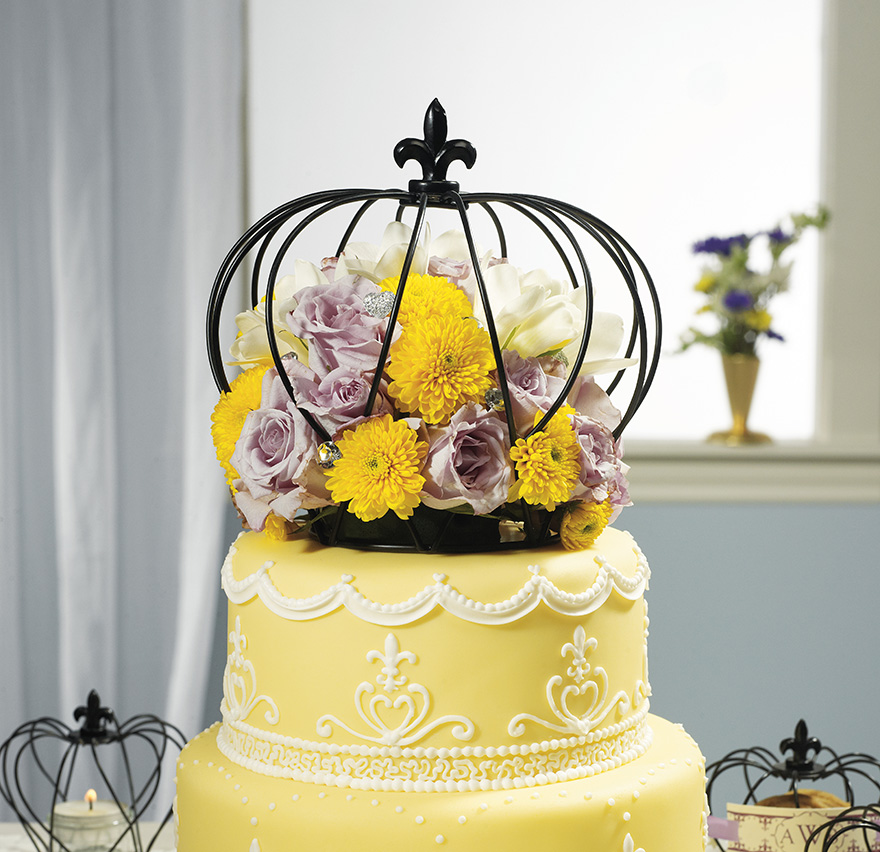 Floral Cake Topper - Summer Wedding Cake with Cage Cake Topper - Crown Cake Topper - Yellow Floral Wedding Cake   Confetti.co.uk