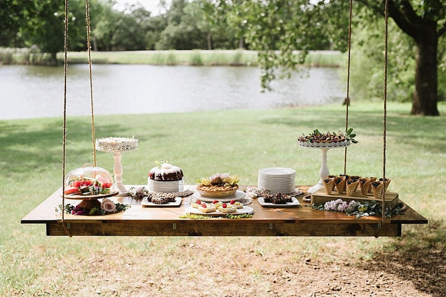 Hanging Wedding Table - Hanging Dessert Table - Wedding Dessert Table Ideas - Sweet Summer Picnic Wedding Ideas by Blair Schluter Photography | Confetti.co.uk