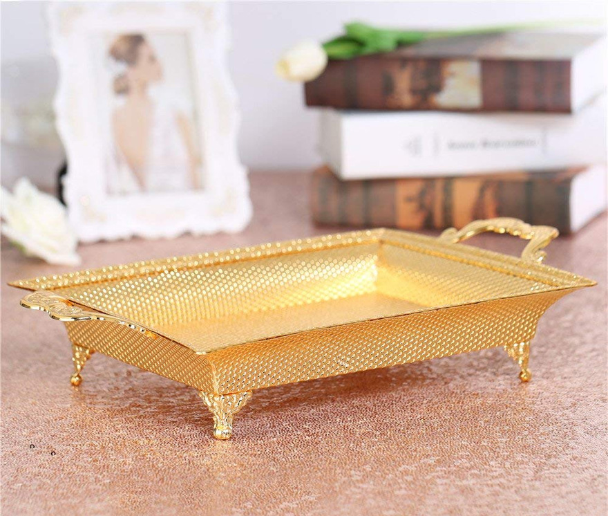 Rectangular Gold Platter - Ornate Gold Serving Tray with Handles - Unique Centrepiece Idea - Vintage Gold Tray - Cake Stand Alternative | Confetti.co.uk