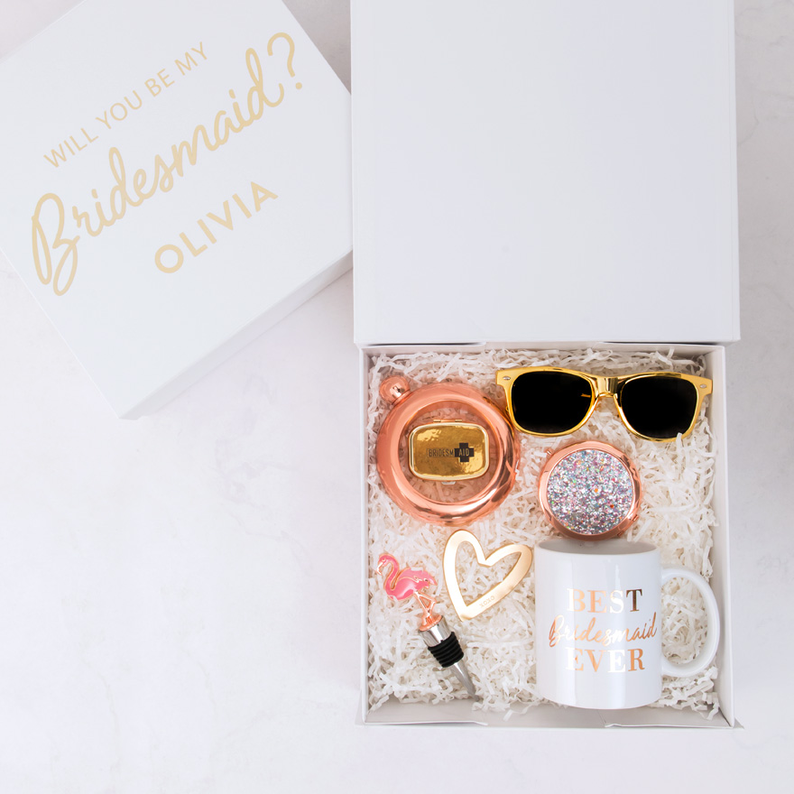 Rose Gold Bangle Flask - Rose Gold Gift Ideas - Will You Be My Bridesmaid Gift Box - Rose Gold Bracelet Flask | Confetti.co.uk