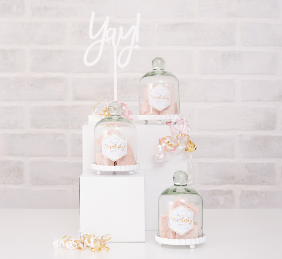 Small Glass Bell Jar With White Base Wedding Favour - Wedding Cake Stand Ideas | Confetti.co.uk
