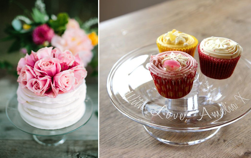 Solavia Personalised Glass Cake Stand Ideas - Wedding Cake with Pink Roses - Simple Cake Stands | Confetti.co.uk