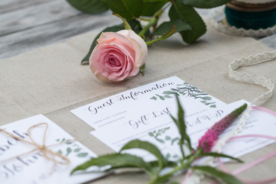 Victoria de Barros Stationery - Greenery Theme Wedding Stationery with Pastel Pink Roses and Summer Garden Wedding Flowers from Lily's Flowers Florist | Confetti.co.uk
