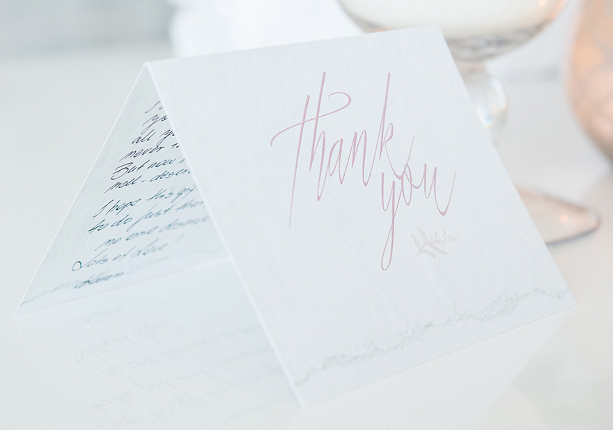 Blush Pink and White Modern Fairytale Thank You Card with Script Text | Confetti.co.uk