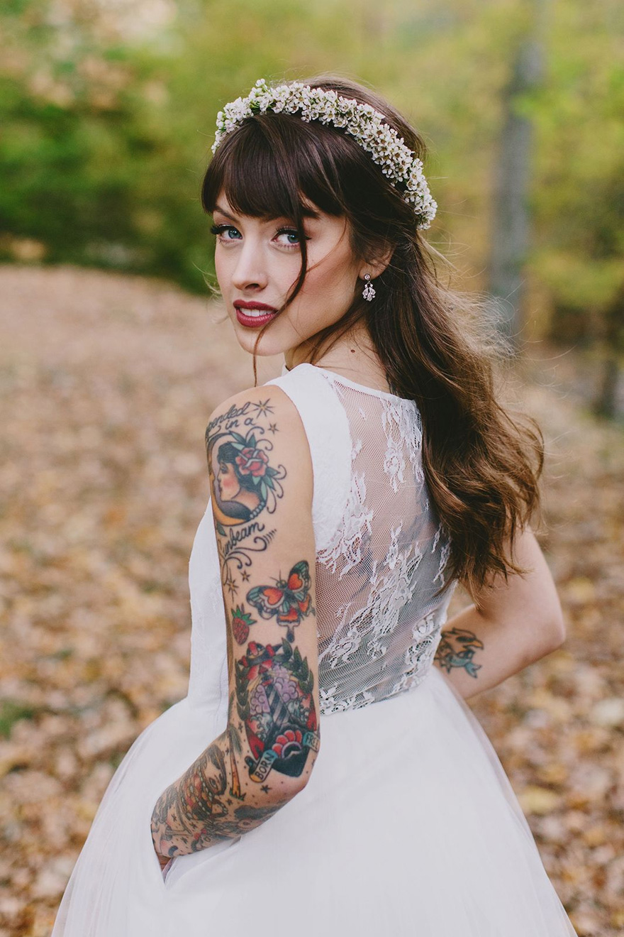 Bride with a Sleeve Tattoo - Christine Mcmillen Woods Wedding by Phil Chester Photography | Confetti.co.uk