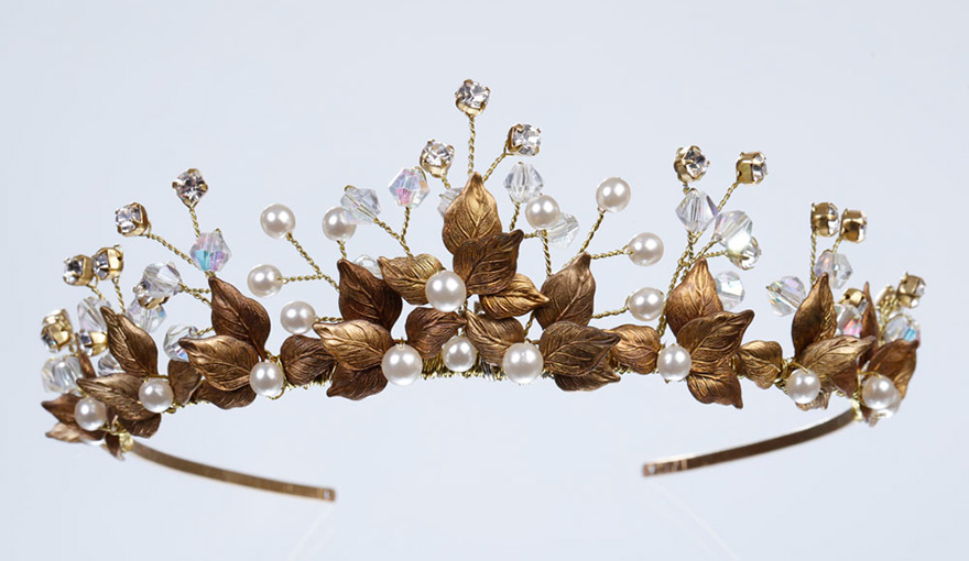 Bromiley Tiara from Miranda Templeton's Davenport Collection - Gold Leaf Tiara with Ivory Pearls and Crystal Diamantes | Confetti.co.uk