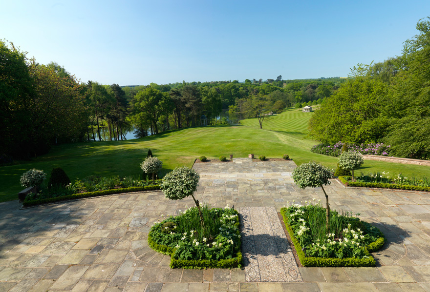 Delamere Manor Patio - View from the Patio - Delamere Manor South Facing Terrace   Confetti.co.uk