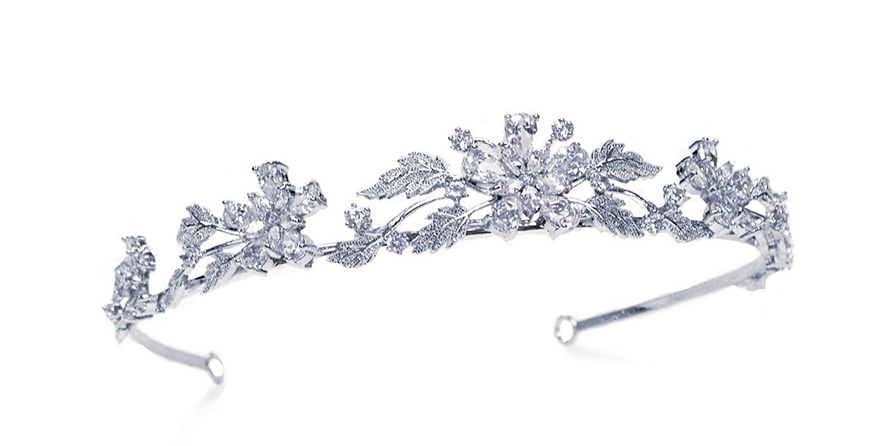 Honeysuckle Inspired Tiara by Ivory & Co - Antique Silver Neo-Classical Tiara with Diamond Teardrops and Leaves | Confetti.co.uk