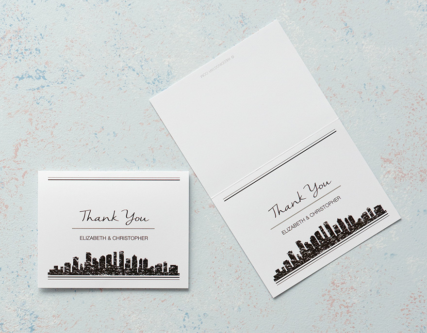 Modern Contemporary City Style Thank You Card | Confetti.co.uk