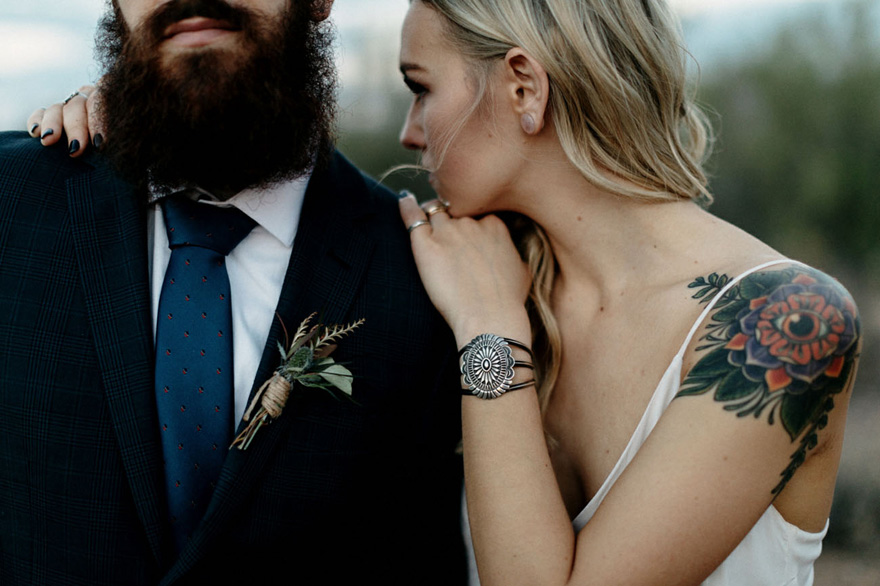 Tattooed Bride with Shoulder Tattoo - A Boho Elopement Against Arizona's Superstition Mountains - Photography by Matt and Tish | Confetti.co.uk