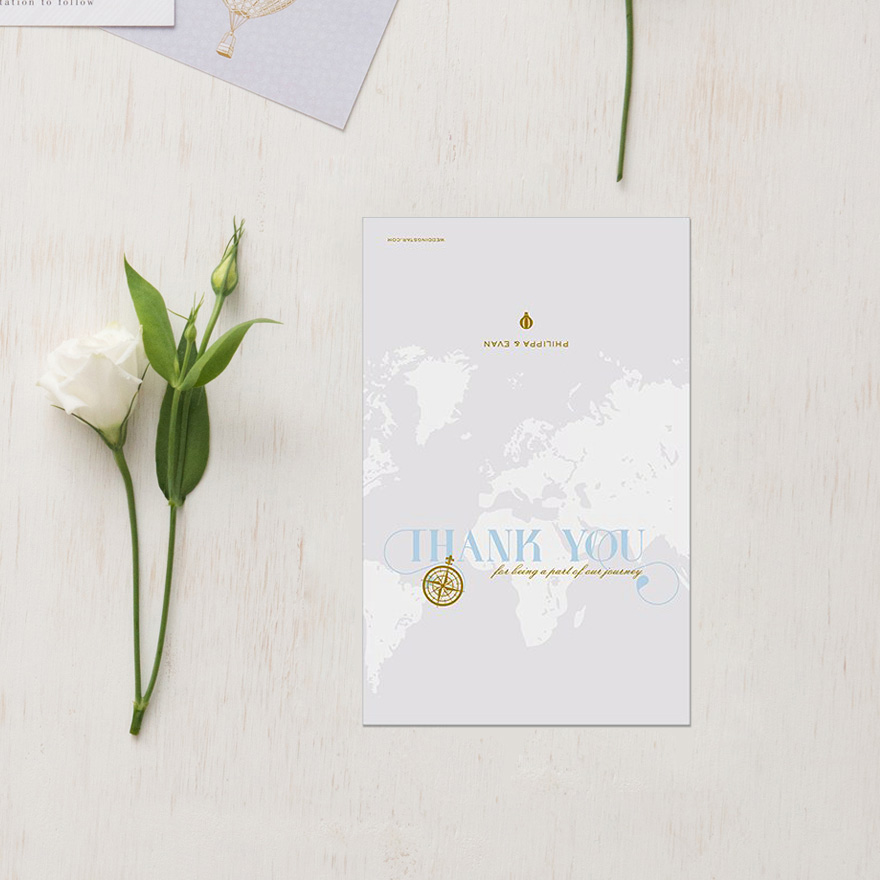 Vintage Travel Thank You Card with Fold - Gold Compass Vintage Wedding Stationery - Map Style Wedding Stationery - Wanderlust Wedding Stationery | Confetti.co.uk