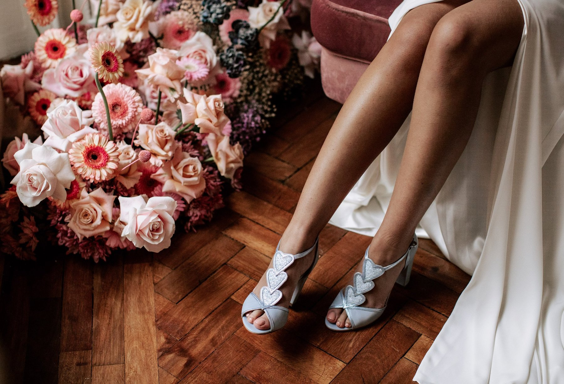 blue and white wedding shoes