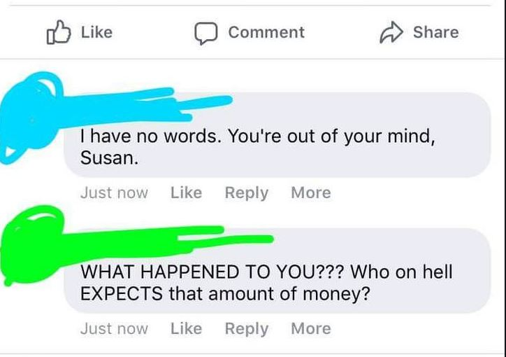comments on bride's Facebook post