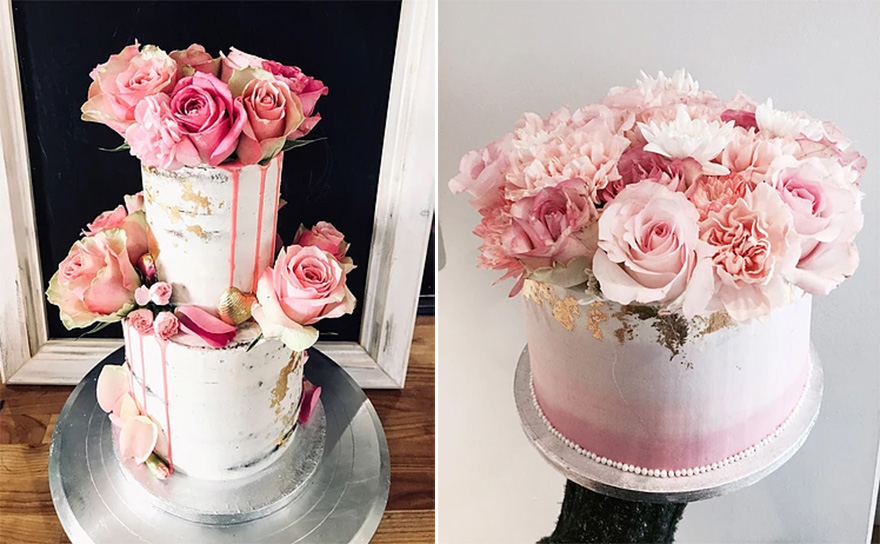 Beautiful Pink Roses and Gold Foil Semi Naked Wedding Cake and Ombre Pink and Roses Sweet Little Engagement Cake by From Kimmies Kitchen   Confetti.co.uk
