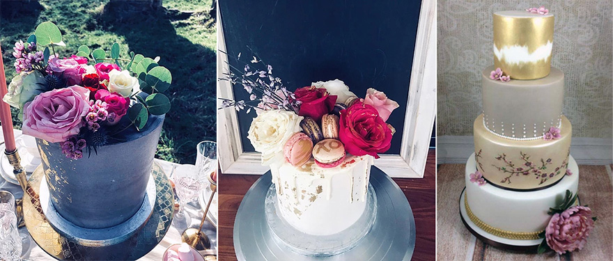 Black and Gold Rock Chic Wedding Cake and Painted Gold Macaron Spring Blossom Painted Wedding Cakes by From Kimmies Kitchen and Pink Grey and Gold Gilded Peony Wedding Cake by Dragons and Daffodils Cakes   Confetti.co.uk