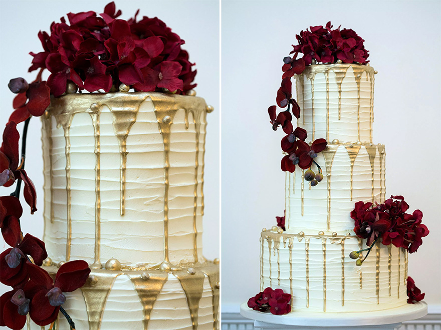 Drip Cake Wedding Cake by Ann's Designer Cakes - Dripping Metallic Gold Wedding Cake Icing - White Red and Gold Iced Wedding Cake   Confetti.co.uk