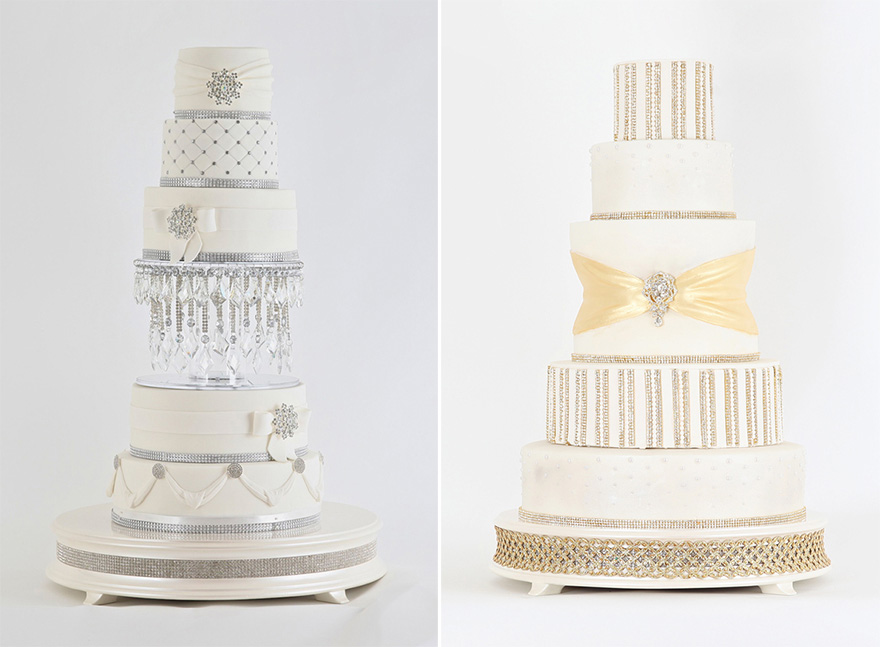 Jewelled Silver Chandelier Cake and Royal Gold Diamonds and Pearls Cake by Sweet Hollywood   Confetti.co.uk