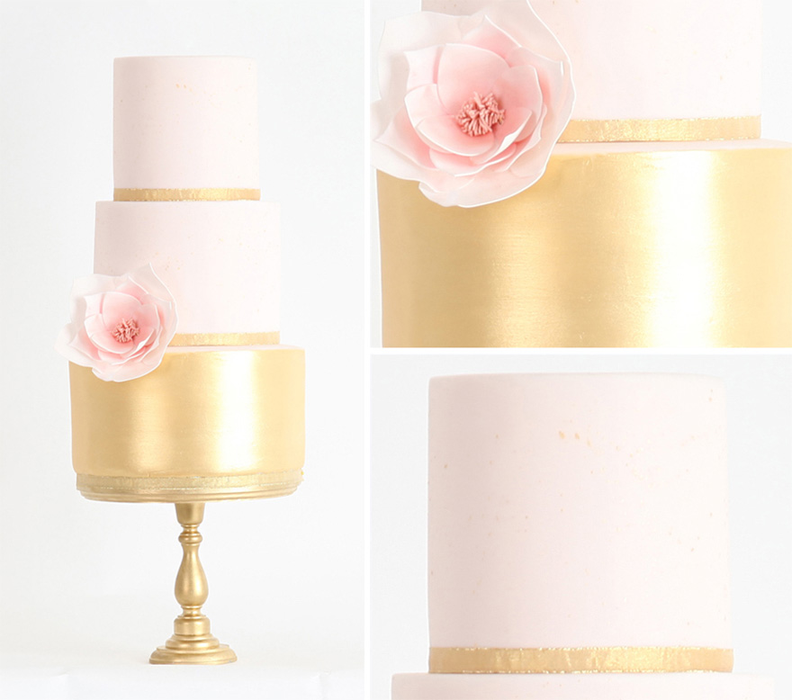 Petite Chic Metallic Gold Wedding Cake from Sweet Hollywood Cakes - Pink and Gold Metallic Wedding Cake - Miniature Wedding Cake Idea - Pretty Minimalist Wedding Cake with Flower   Confetti.co.uk