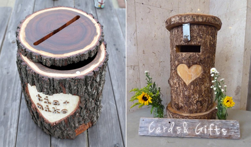 Tree Stump Wedding Post Box DIY by Instructables and Rustic Tree Trunk Post Box by Sweet Pea and Ivy   Confetti.co.uk