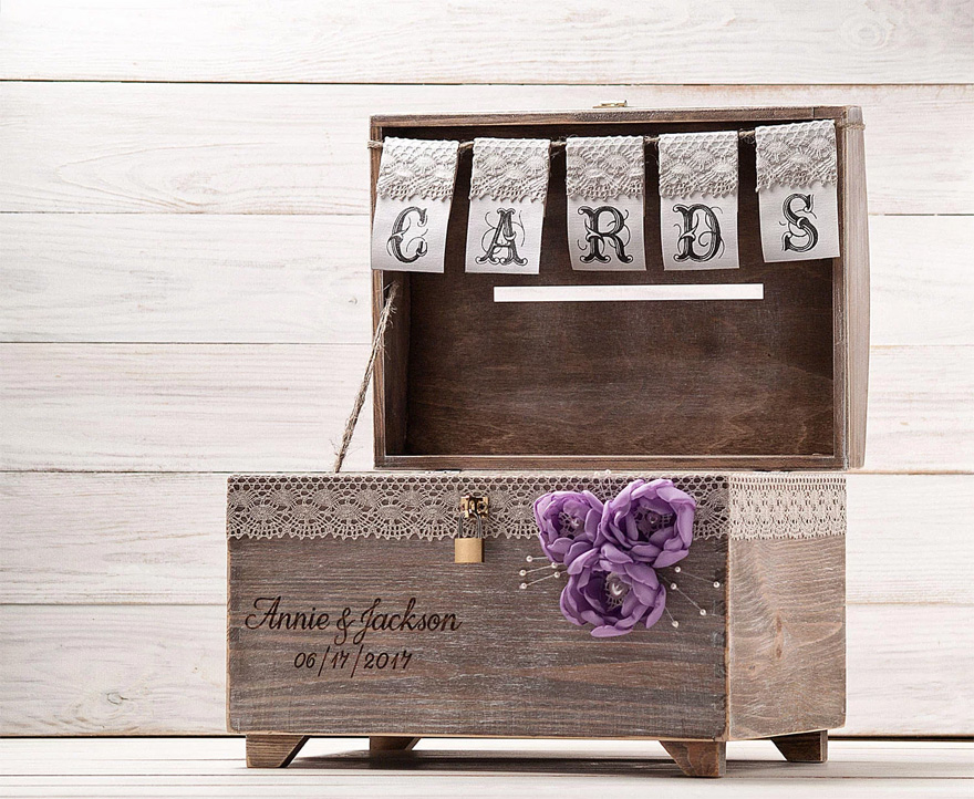 Wooden Chest Wedding Post Box - Wedding Card Box with Lock and Key by InesesWeddingGallery on Etsy   Confetti.co.uk