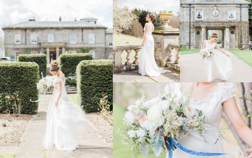 Doxford Hall bride around the grounds