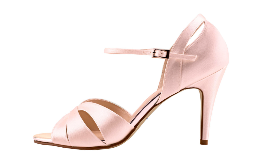 pale pink open toe wedding shoes