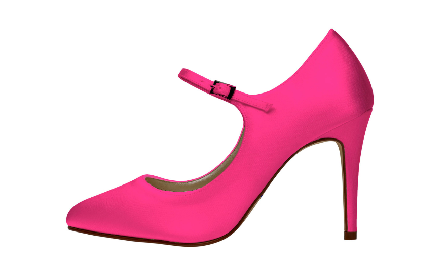 bright pink wedding shoes with straps