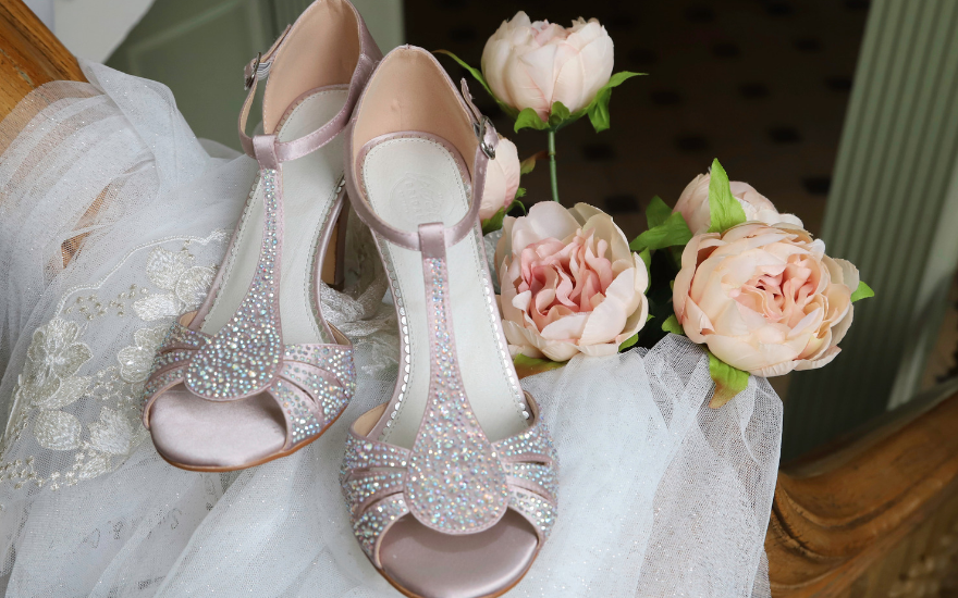open toe pink wedding shoes with crystals