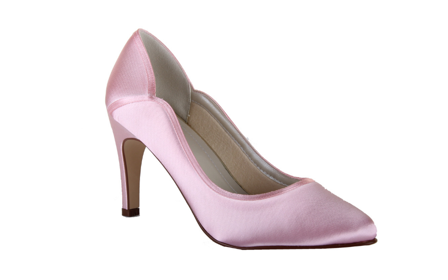 Scalloped edge pink wedding shoes