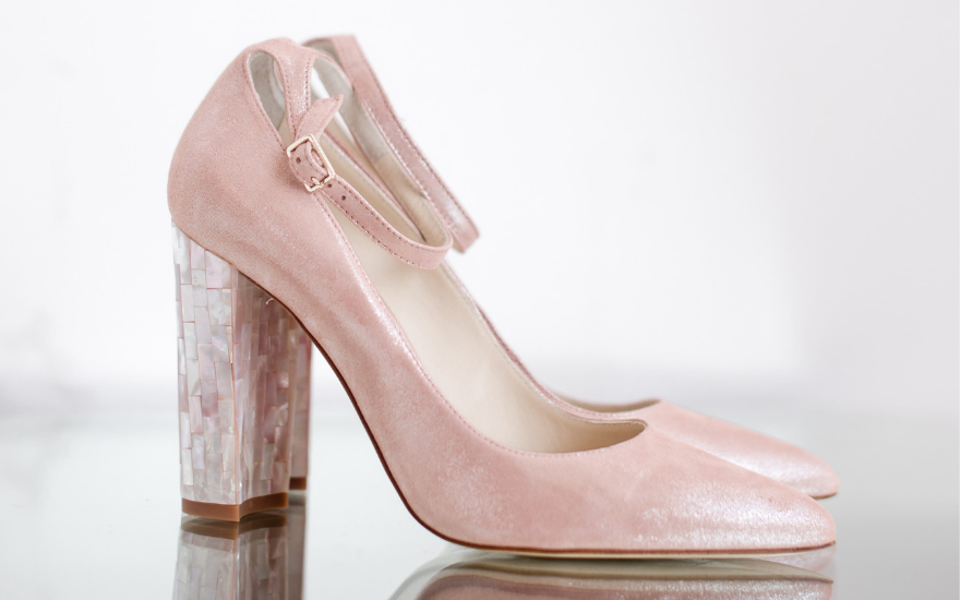 pink wedding shoes with ankle strap