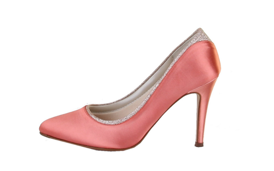salmon pink wedding court shoes