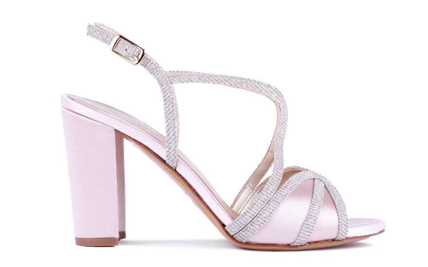 block heel pink and silver wedding shoes