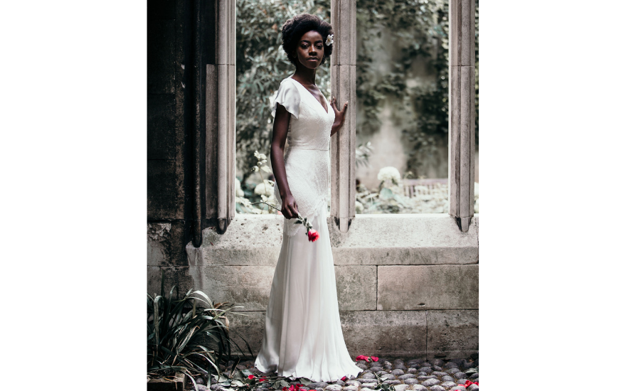 Simple wedding dress with capped sleeves