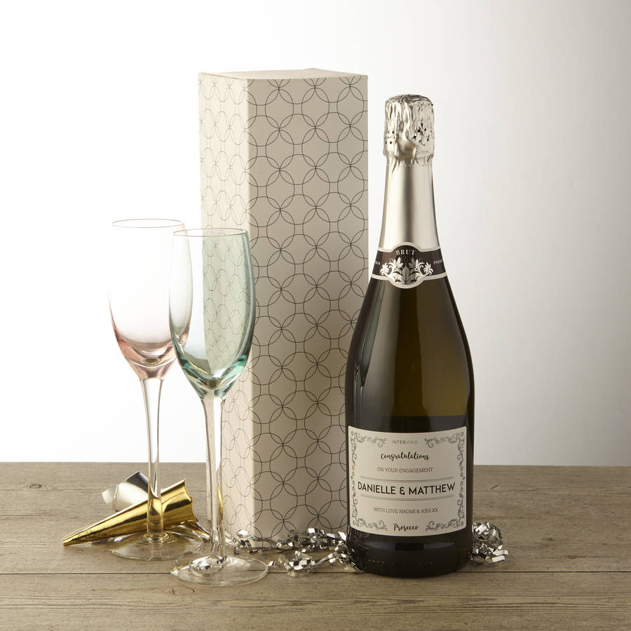 personalised prosecco engagement gifts